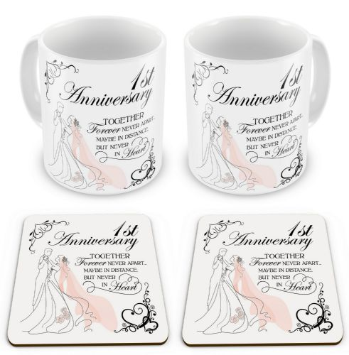 Set of Anniversary Together Forever Never Apart Novelty Gift Mugs with Coasters
